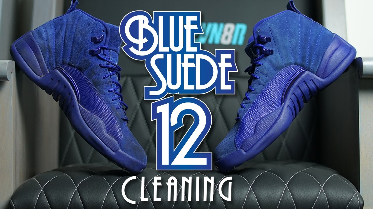 2a68b1acdc52 How to clean Blue Suede Jordan 12!! - YouTube