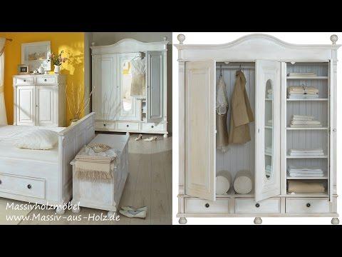 Landhausmöbel - romantischer Kleiderschrank in Weiß aus Massivholz