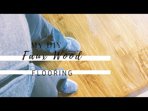 DIY WOOD FLOORS // FAUX WOOD FLOORING // PAPER BAG FLOORS-