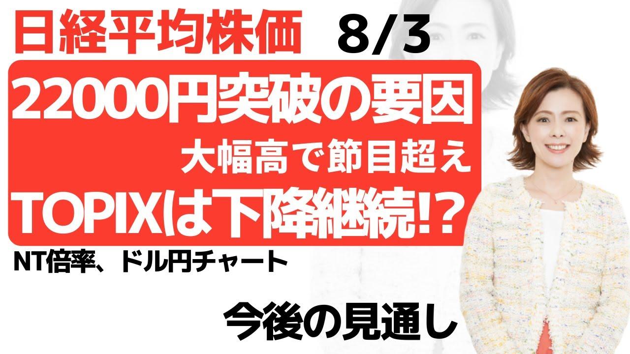 【日経平均チャート分析(8/3)】円高進行が落ち着き、節目2万円を突破しました!TOPIXのチャートを見ながら、今後の戦略を考えてみました。  #日経平均 #チャート #株