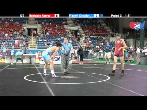 Fargo 2012 120 Round 3: Benjamin Harvey (Indiana) vs. Vincent Casados (Colorado)
