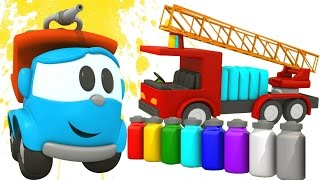 Léo o caminhão. Um caminhão de bombeiros. As cores para c...