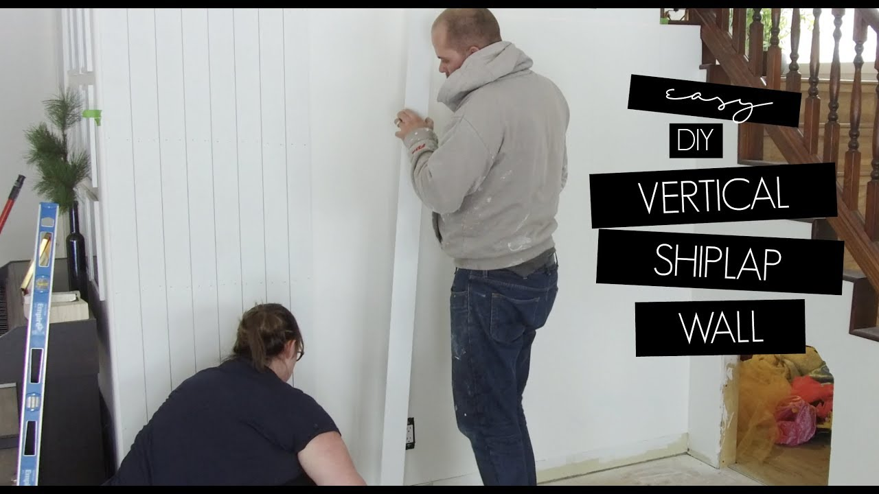 Easy DIY Vertical Shiplap Wall