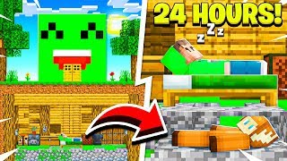 I Spent 24 Hours in JELLY'S Minecraft House! (He Was Clueless...)