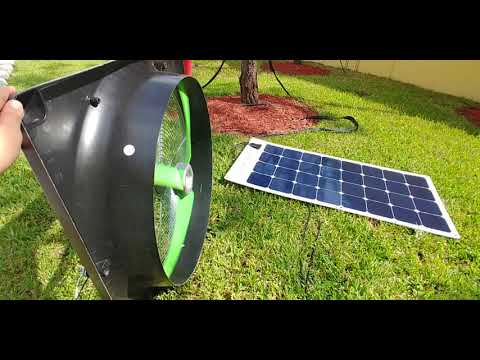 "Snap-Fan 24"" Industrial Fan powered by a 100Watt SunPower Flexible Solar Panel"