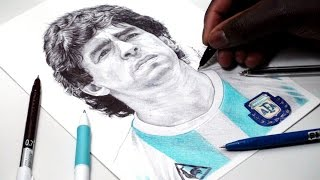 Diego Maradona Pen Drawing - Argentina - DeMoose Art