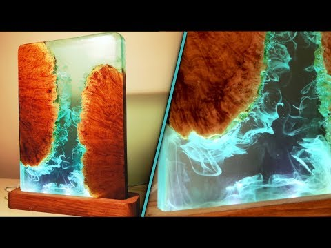 Night Lamp With Epoxy Resin And Wood - Resin Art