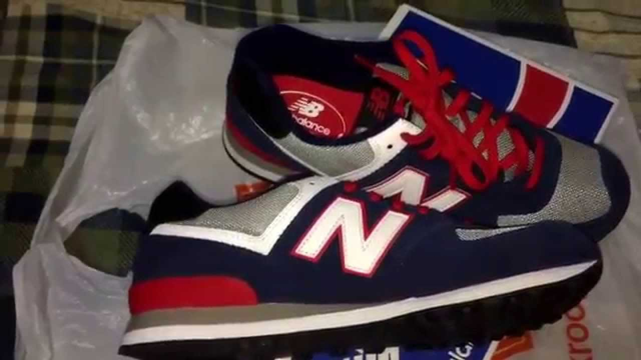 New balance 574 Navy Red review+on foot - YouTube e082aaa4010f