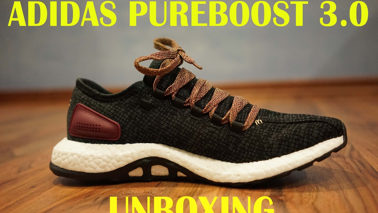 Adidas PureBoost Black Burgundy Unbox With Lace Switched! - YouTube 6fe691af0
