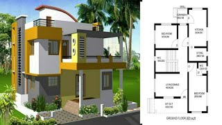 Beautiful double floor home design and plans || house front elevation and floor plan ||home design