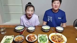 먹방MUKBANG 콩나물김치 대패삼겹살볶음,파절이,계란…