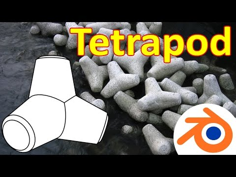 Blender Tutorial Tetrapod  テトラポッド + Papercraft Model (Subtitles)