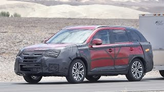 2015 Mitsubishi Outlander Facelift Spied Towing a Trailer [Photo Gallery]