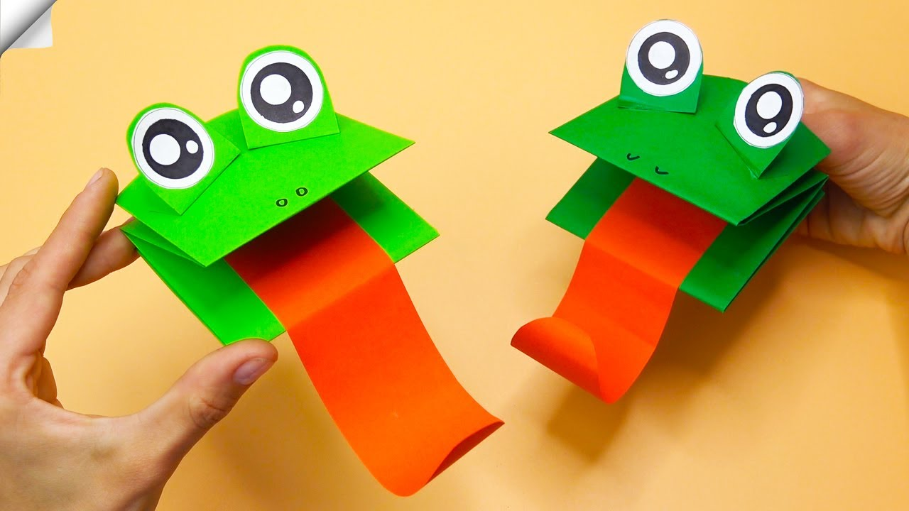 How to Make a FROGS Paper Puppet | Moving paper toys | Easy paper crafts
