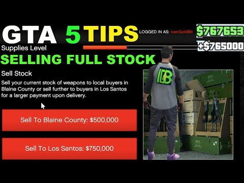GTA 5 HOW TO MAKE MONEY GUNRUNNING DLC SELL STOCK FAST TIPS