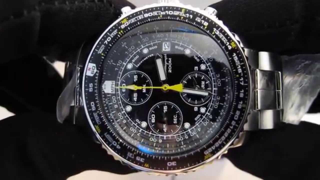Обзор мужских наручных часов Seiko Flight Chronograph SNA411 - YouTube