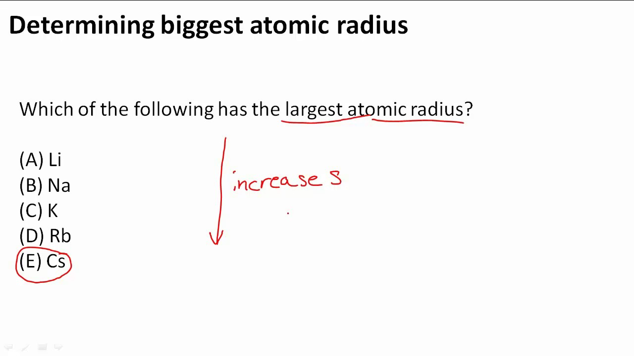 determining biggest atomic radius youtube - Greatest Atomic Radius Periodic Table
