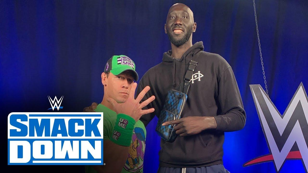 Tacko Fall met John Cena at WWE Smackdown