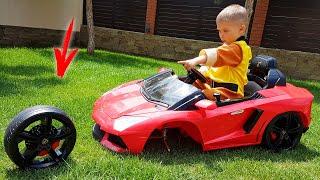 A roda do Lamborghini vermelho caiu - Dima se apressa para o resgate