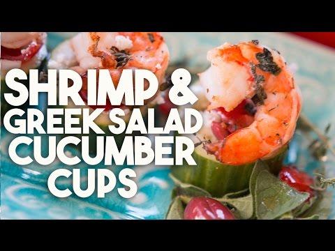 SHRIMP & GREEK SALAD Cucumber Cups - HEALTHY appetizer