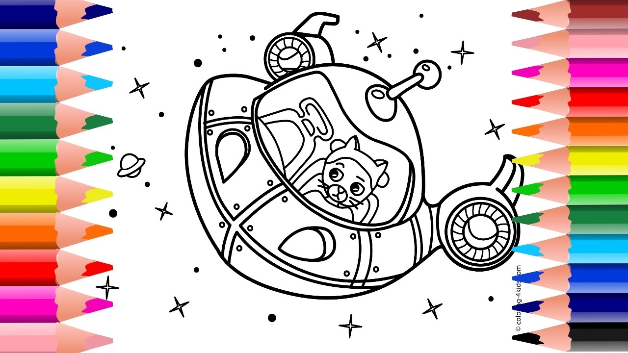 Spaceship Coloring Page For Kids | Spaceship Coloring Book | Spacecraft  Coloring
