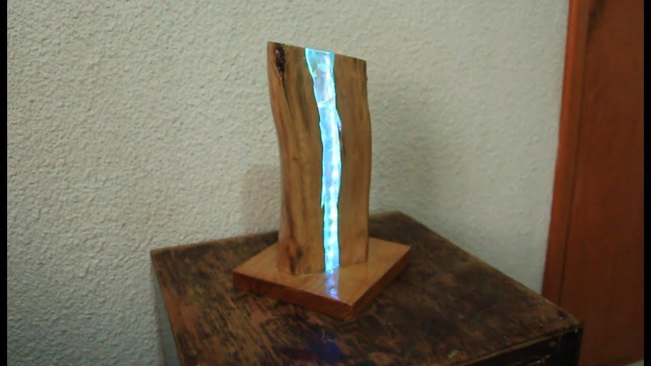 Lampara De Madera Y Cristal Youtube - Lampara-de-madera