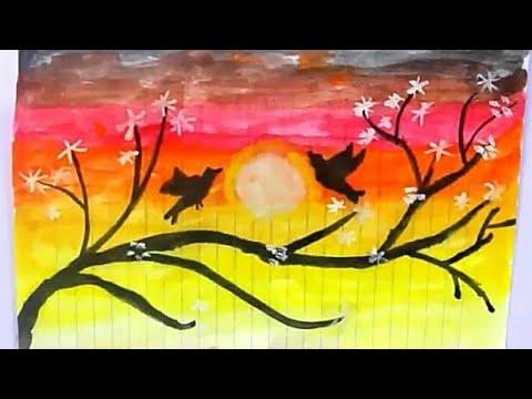 رسم منظر طبيعي بالالوان المائية رسم سهل للاطفال وللمبتدئيين خطوه