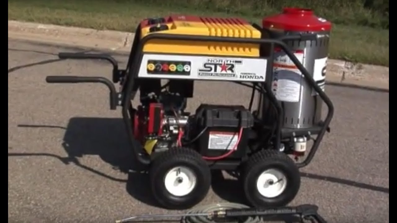 northstar gas powered wet steam hot water pressure washer with honda engine 3000 psi 4 gpm [ 1280 x 720 Pixel ]