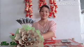 Cách Làm Bó Hoa Bằng Tiền Đẹp và Dễ Làm,Làm Bó Hoa Tằng Mẹ Ngày VALENTINE