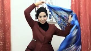 Hijab Tutorial : 1 square scarf 4 style by azie fazieda