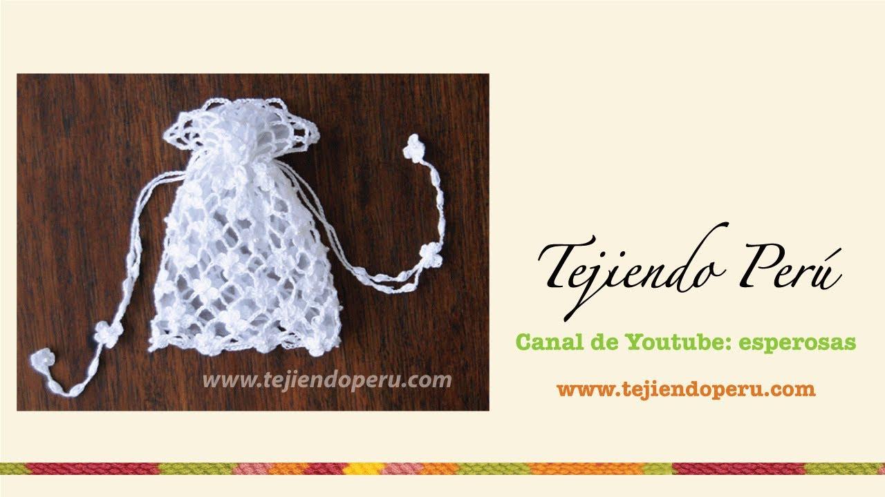 Bolsito para Primera comunión tejida a crochet (punto red de flores ...