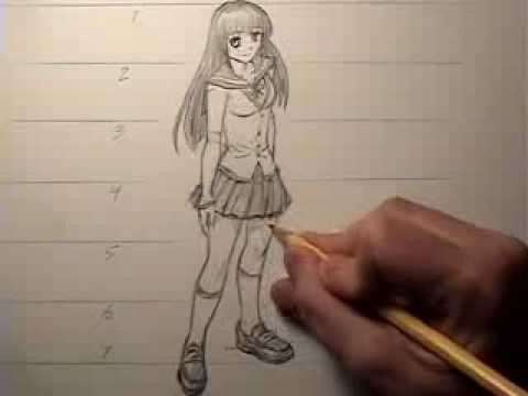 How to draw a female body manga style proportions