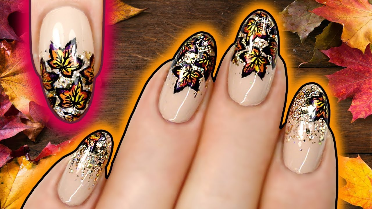 FALL LEAVES NAIL ART | Autumn Leaf Stamping Nails with Holo Gold ...