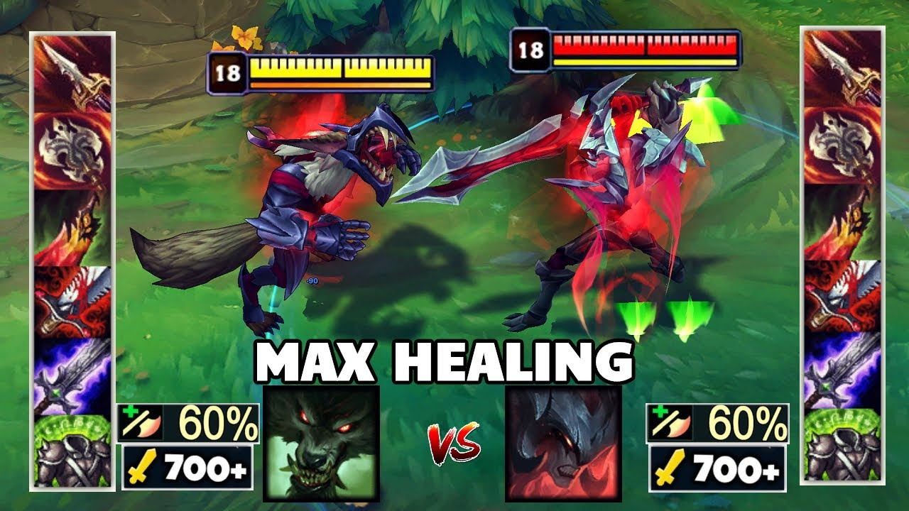 900 AD MAX HEALING AATROX vs MAX HEALING WARWICK & Best Moments!