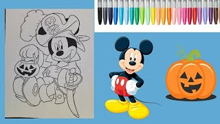 Mickey Mouse Halloween Coloring Page 🎃 Disney Coloring Book - Relaxing Coloring for Kids Music