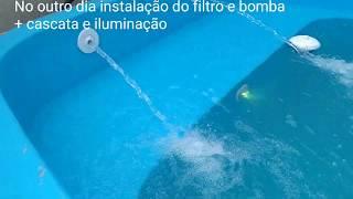 instalação de uma piscina de 7.000l + cascata e iluminação  pela equipe MMpiscinas RJ