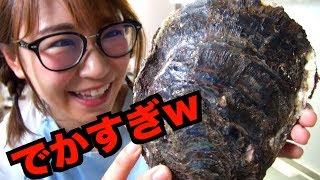 【飯テロ】巨大牡蠣をこじ開けたら中から宝石出て来た【激闘】