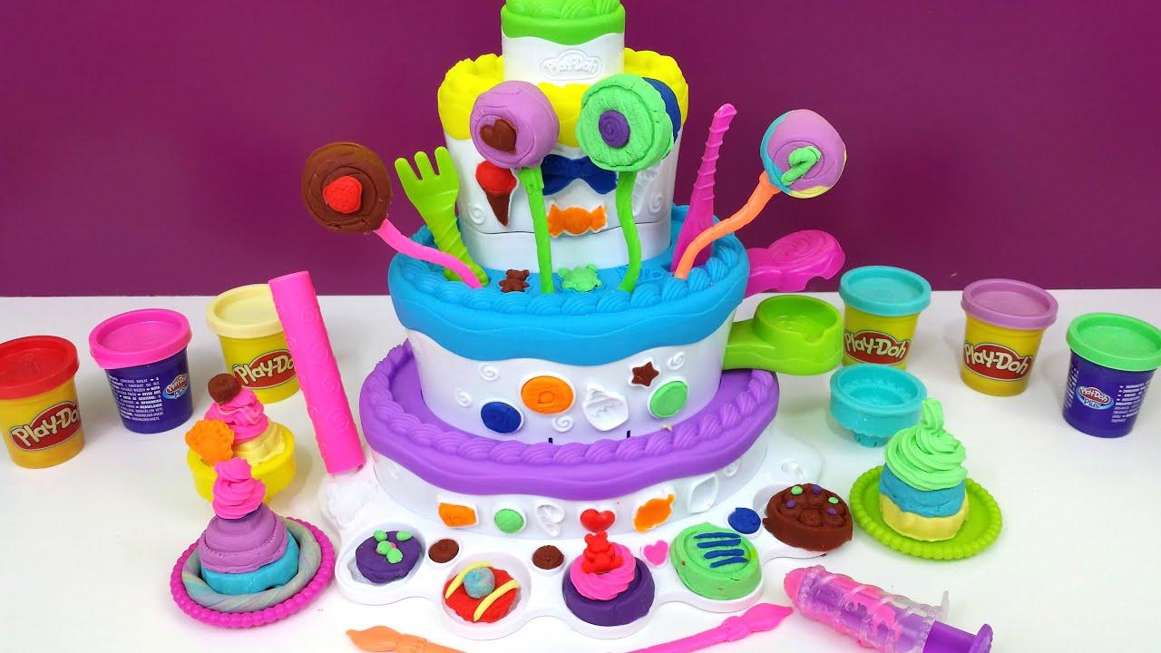Play Doh Cake Mountain Playset Sweet Shoppe Birthday Cake Lollipops Youtube
