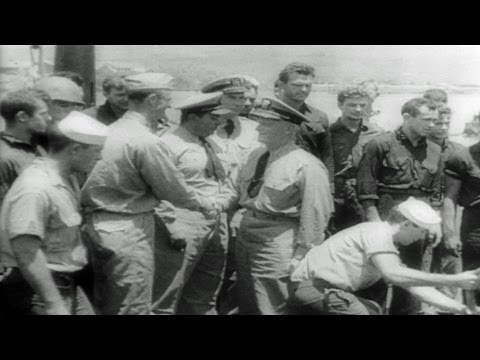 HD Historic Archival Stock Footage WWII Military News 1943 Marines Back After Raid on Jap Island