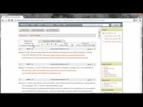 Creating Folders in RefWorks