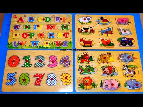 Learn Animals,Numbers counting and ABC letters  Puzzle Fun preschool children learning -Kid Z Fun