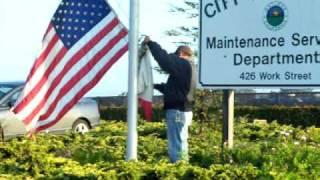 Raising the American and Californian Flags - Salinas CA 05Dec08
