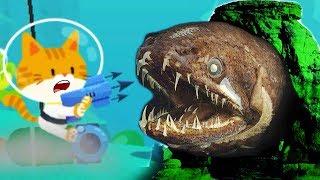 #2 ПОДВОДНЫЙ КОТЕНОК РЫБОЛОВ поймал очень много рыбы симулятор маленького котенка веселый летсплей