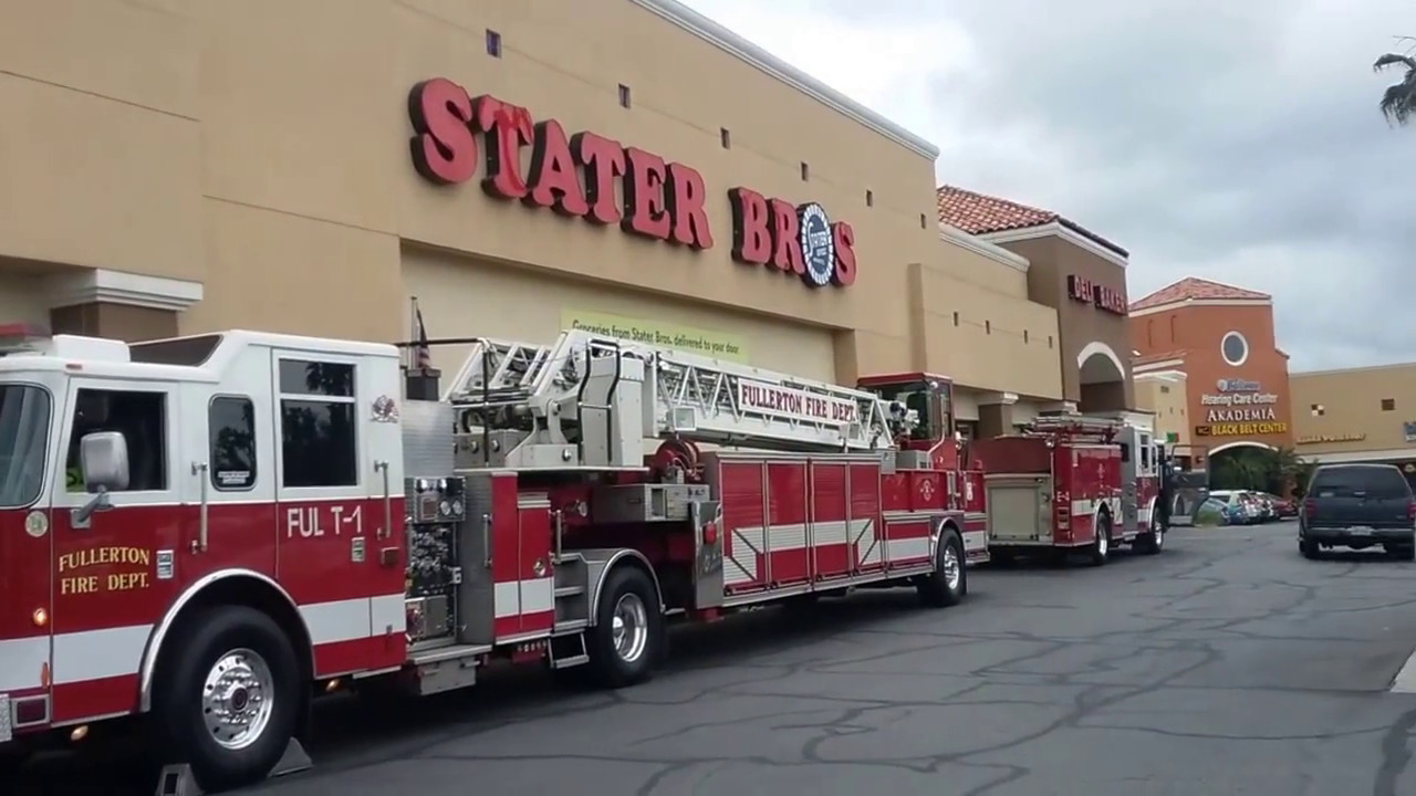 Major Fullerton Fire Department emergency at Stater Brothers-a soda run