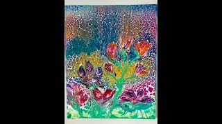SPRING FLOWERS ACRYLIC POUR PAINTING  /  SWIPE AND BLOW TECHNIQUE USING A STRAW  BY MYLENE AUSDAUER
