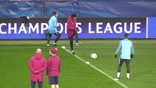 Manchester City Players Train For Shakhtar Donetsk Match