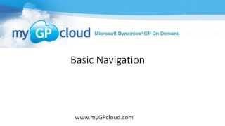 Dynamics GP Basic Navigation on myGPcloud