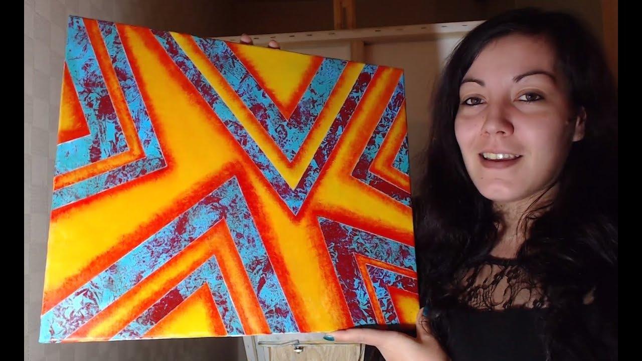 Tutoriel Peinture Débutant : Fond Acrylique et Ruban Adhésif - YouTube