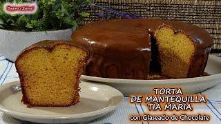 LA MEJOR TORTA DE MANTEQUILLA DE LA TIA MARIA CON GLASEADO DE CHOCOLATE FÁCIL Y SABROSA
