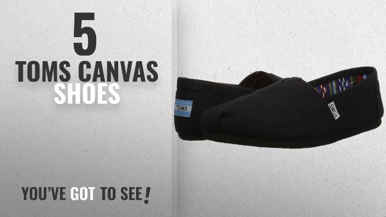 0d704213342 Top 5 Toms Canvas Shoes  2018   TOMS Womens Classic Slip-Ons Black ...